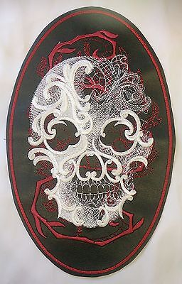 Faux Leather Embroidered with Ghost Skull Motif/Patch/Badge/Applique/ Biker