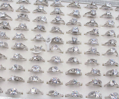 Wholesale Mixed Lots Jewelry 20pcs Resale Zirconia Silver Plated Women Rings