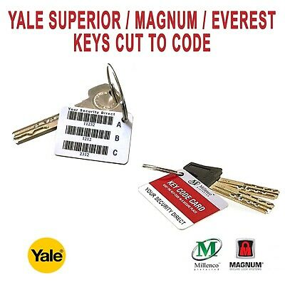 Yale Superior / Magnum / Everest Keys Cut to Code or Quality Photo / Scan