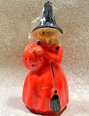 """Vintage Gurley Halloween Witch Candle 8"""" Decoration Unlit New Old Stock"""