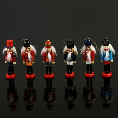 6 pcs Handpainted Wooden Nutcracker Toy Solider Christmas Decoration Ornament