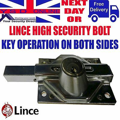 Gate/Shed/Garage High Security Locking Sliding Bolt Key Operation on Both Sides