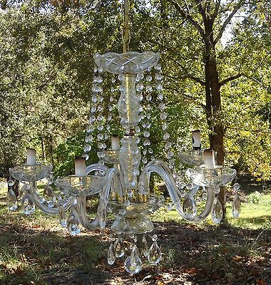 Hollywood Regency 5 Arm Crystal / Glass Chandelier Luxury Light Ceiling Fixture