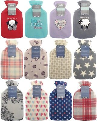 Large 2 litre Hot Water Bottle Rubber Choice 8 Soft Fleece Safety with Cover
