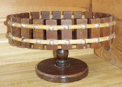 Vintage Wooden Country Rustic Pedestal Table Nut Bowl Metal Studded Accents