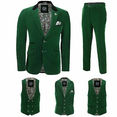 Mens Green Velvet Vintage 3 Piece Suit Blazer Waistcoat Trouser Sold Separately