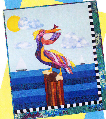 CLEARANCE - Penelope Pelican - fabulous applique & pieced wall quilt PATTERN