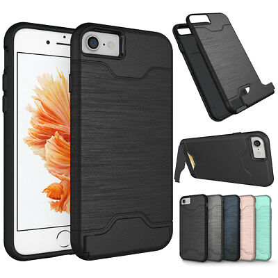 For iPhone X 8 7 6s 6 Plus Slim Credit Card Holder Hybrid Hard Stand Case Cover