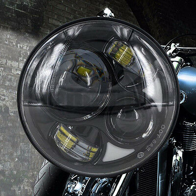 "7"" Motorcycle Black Projector Daymaker Round Headlight Hi/Lo LED Lamp For Harley"