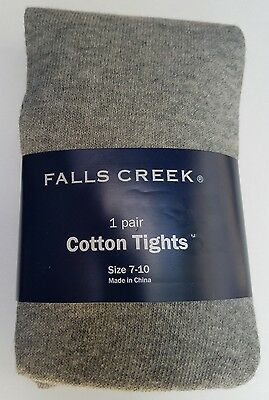 Girls Falls Creek Brand Gray Cotton Blend Tights Size 7-10