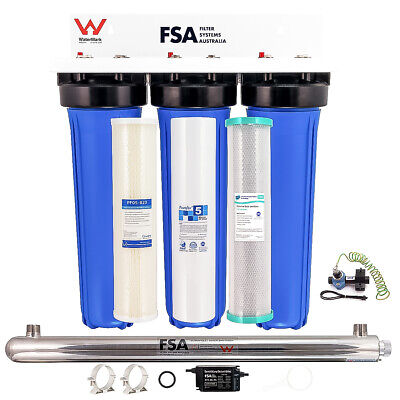 """Whole House Bore Water Filter System 20"""" 4.5"""" UV + Hard Water Conditioner"""