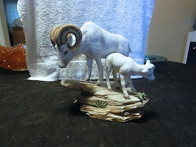 """Homco 1984 Masterpiece """" Ram - Father & Son """" Porcelain Statue"""