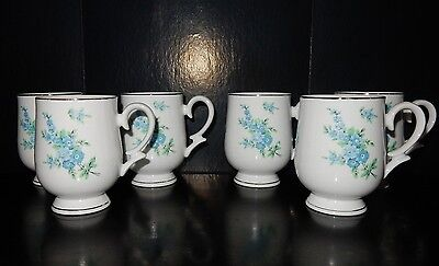Set of 6 Royalton Blue Flower Floral Translucent Porcelain Cups Japan RYT2