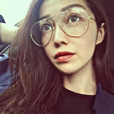 Clear Lens Aviator Glasses Fashion Retro Vintage Style Metal Frame Glass