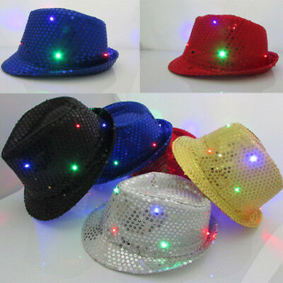 Flashing Light Up LED Fedora Trilby Sequin Unisex Fancy Dressed Dance Party Hats