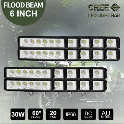 "20x 6"" inch 30W CREE Flood LED Work Lights Bar Off Road 4WD 12V24V Driving Lamp"
