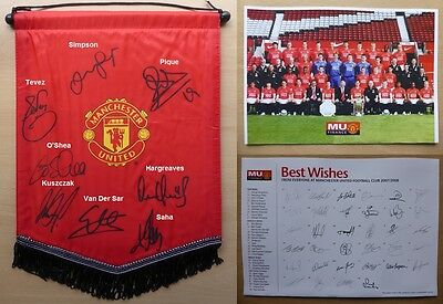 2007-08 Man Utd Official Pennant Signed by 8 (7744)