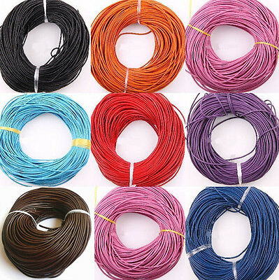 Wholesale Lots Gift 16.4 Feet Coffee Color Real Leather Jewelry Cord 3mm