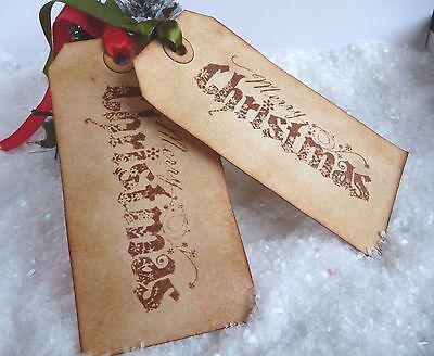 10 Vintage Merry Christmas Gift Tags ❄ handmade distressed ❄ scented ❄