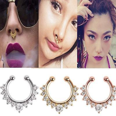 1 pc Fashion Fake Clip On Non Piercing Crystal Septum Nose Ring Faux Clicker