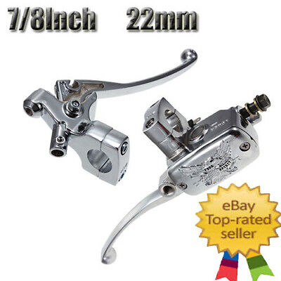 "7/8"" Motorcycle Universal Chrome Clutch Brake Levers Master Cylinder Reservoir"