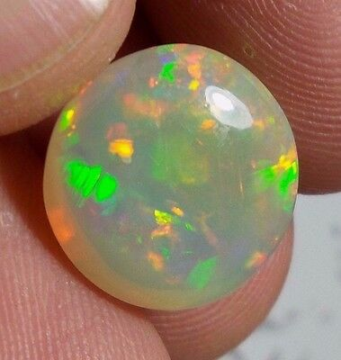 7 Ct 14.5 MM Rare Color Natural Round Shape Flat Surface Ethiopian Fire Opal AAA