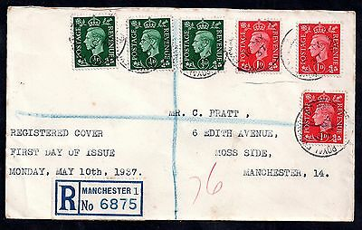 GB KGVI 1937 1/2d & 1d multiple stamp registered FDC WS1569