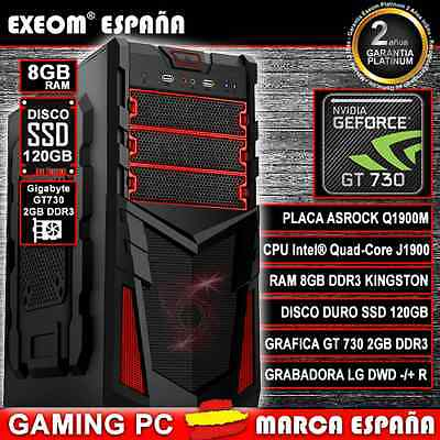 ORDENADOR PC GAMING INTEL QUAD CORE 9,6GHz 8GB RAM HDD SSD 120GB GT 730 2GB DDR3