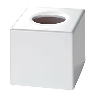 Satin White Cube Tissue Box Cover (Case Qty 6) by Corby