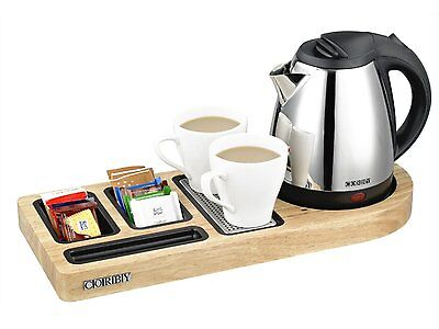 Buckingham Standard Welcome Tray - Light Wood (With 1L Kettle) by Corby