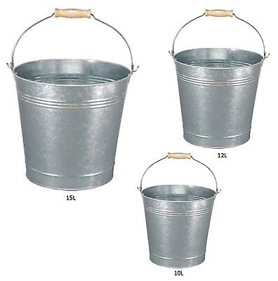 Traditional Galvanised Strong Steel Metal Small Large Bucket With Wooden Handle