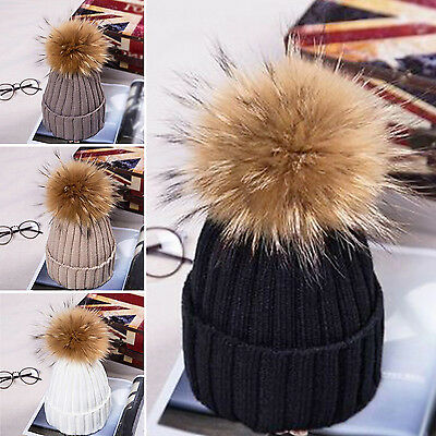 Kids Children Baby Boy Girl Pom Hat Winter Warm Crochet Knit Bobble Beanie Cap