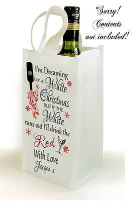 Personalised White Christmas Wine Bottle Gift Bag Present Friend Mum Teacher