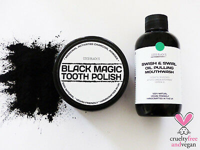 100ml Activated Charcoal Powder Oil Pulling Mouthwash & 50ml Tooth Polish *MINT