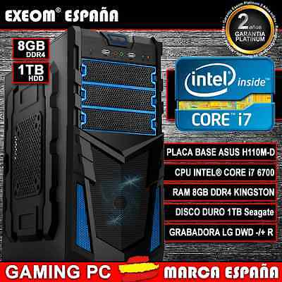 ORDENADOR PC GAMING INTEL CORE i7 6700 6ª GEN 8GB DDR4 HDD 1TB HDMI