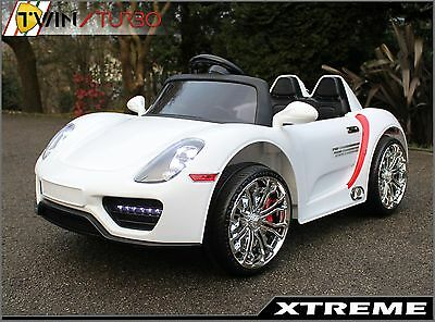 Child,s Kids Xtreme 12V White Ride on Porsche Style Battery Powered Electric Car