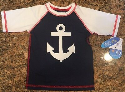 NEW! Wave Zone Baby Boys Anchor Swim Shirt Rash Guard Suit NWT Red White Blue