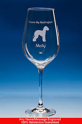 Bedlington Terrier Dog Gift Personalised Engraved Fine Quality Wine Glass