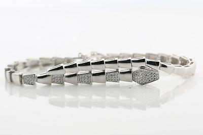 Sterling Silver Bracelet Bangle pave set round Cubic Zirconia Safety Chain