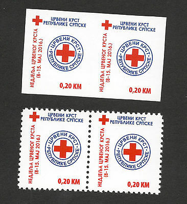 Bosnia Serbia-Pair-Imperforated+Perforated-Red Cross-2016.