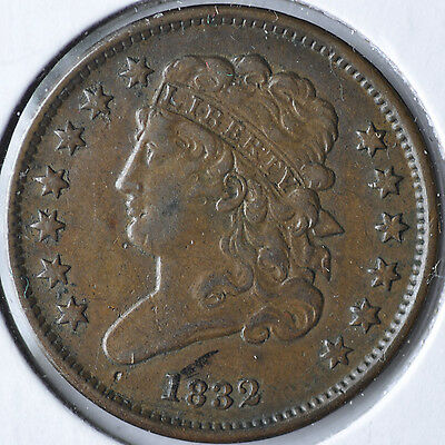 1832 1/2C Classic Head Half Cent Type Coin Circulated Extremely Fine XF EF