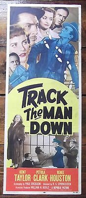 Track the Man Down, RARE Insert Movie Poster, Kent Taylor, Petula Clark, '55