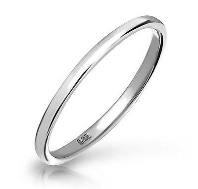 925 Sterling Silver Plain 2mm Thin Bridal Band Womens Fashion Thumb Ring Sz 3-13