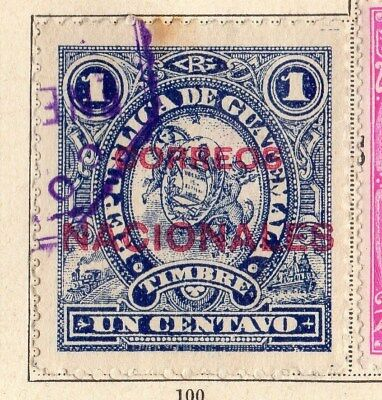 Guatemala 1898 Early Issue Fine Used 1c. Optd 094922