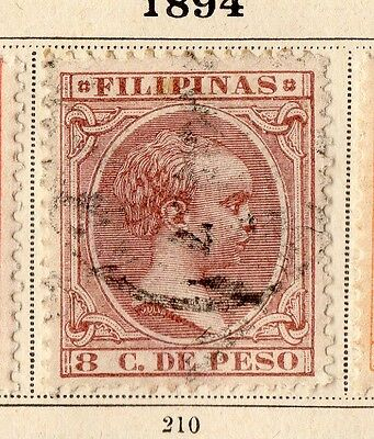 Philippines 1894 Early Issue Fine Used 8c. 094943