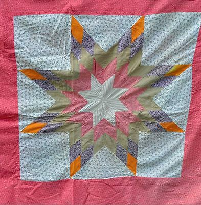 1880-1900 Twinkling Prairie Star Antique Vintage Quilt Top – Pretty & Feminine!