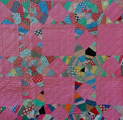 1930's GORGEOUS LIPSTICK PINK LEMOYNE STAR ANTIQUE VINTAGE QUILT – IMMACULATE