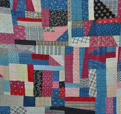 19thc PRIMITIVE COUNTRY CHARM CRAZY PIECED ANTIQUE VINTAGE QUILT – MASCULINE!