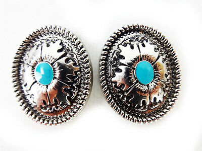 """1¼""""  Oval Engraved Silver Turquoise Green 2 Concho Tack Lot Horse Rodeo Repair"""