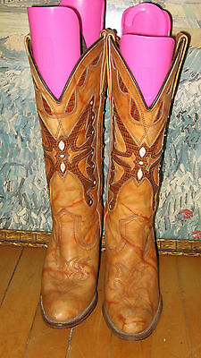 Vintage 70s 80s Capezio Tan Marbled Leather Butterfly Boots Stacked Heel 6.5